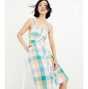 MADEWELL Tank Button-Front Midi Rainbow Dress